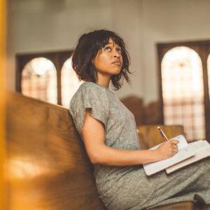 Woman sitting in a church