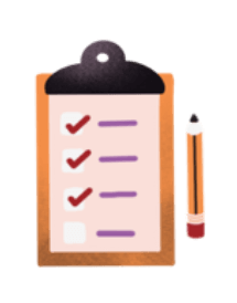Illustration of a clipboard and pencil