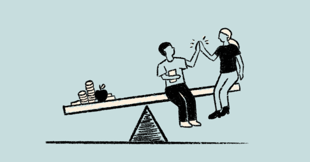 Illustration of people on a teeter-totter